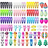 Hair Clips for Girls, Funtopia 100 Pcs No Slip Metal Snap Hair Clips Barrettes for Baby Girls Toddlers Kids Teens, Cute Candy