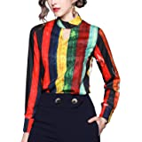 SANHION Womens Vintage Baroque Print BlousesCollared Neck Long Sleeve Button Down Shirts
