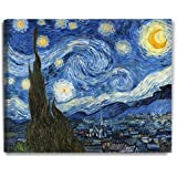 DECORARTS - Starry Night - Vincent Van Gogh Reproductions. Giclee Canvas Print Wall Art Home Wall Decor. 30x24x1.5