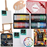MEEDEN 71-Piece Acrylic Painting Set - Solid Beech Wood Table Easel, 48×22ML Acrylic Paint Set, Canvas Panels, Acrylic Paintb