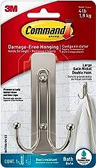 Command Double Bath Hook, Silver, Large (BATH36-SN-ES)