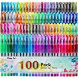 100 Color Glitter Gel Pen Set, 30% More Ink Neon Glitter Coloring Pens Art Marker for Adult Coloring Books Bullet Journaling