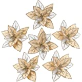 Sea Team 12-Pack Artificial Glitter Poinsettia Christmas Flower Ornaments Tree Decorations, 6.5-inch, Gold