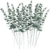 CEWOR 24pcs Artificial Eucalyptus Leaves Stems Real Grey Green Touch Branches for Home Office Centerpiece Wedding Banquet Flo