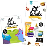 Lil' Labels Daycare Value Pack Write on Name Labels, Waterproof, Baby Bottle Labels (Animal Friends) & Clothing Labels, Plus
