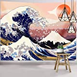 Hexagram Ocean Wave Tapestry Wall Hanging, Janpanese Mount Fuji Wall Tapestry, The Great Wave Wall Art Tapestry Home Decorati
