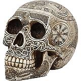 "Ebros Norse Mythology Viking Vegvisir Compass Talisman with Trinity Valknut Odin Skull Figurine 8"" Long Skeleton Head Skulls"