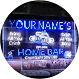 Personalized Your Name Custom Home Bar Beer Established Year Dual Color LED Neon Sign White & Blue 400 x 300 mm st6s43-p1-tm-