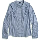 Tommy Hilfiger Adaptive Women's Ruffle Top with Hidden Magnetic Buttons, surf The Web/WIHED