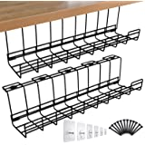 Spacrea Under Desk Cable Management Tray, Metal Wire Cable Tray for Office and Home, 2 Pack Standing Desk Tray with 15 Cable
