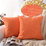 Pure Square Decorative Throw Pillows Cushion Covers Cases Pillowcases Durable Cotton Linen Blend For Sofa 18 X 18 Inches Pack