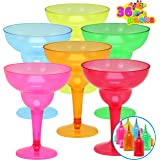 36 Packs Plastic Margarita Glasses Cups 12 oz Disposable Cinco De Mayo Fiesta Party Decoration for Fun Taco Party Supplies, N