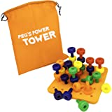 Peg's Power Tower Stacking Toy by Little Roos | Educational Peg Board Toy for Kids to Learn fine Motor Skills, with 30 pegs i
