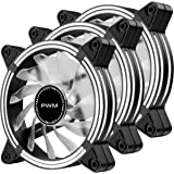 EZDIY-FAB 120mm PWM White LED Fan, Dual-Frame LED Case Fan for PC Cases, High Airflow Quiet,CPU Coolers, and Radiators,4-Pin-