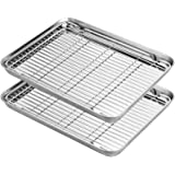 Stainless Steel Baking Sheets with Rack, HKJ Chef Cookie Sheets and Nonstick Cooling Rack & Baking Pans for Oven & Toaster Ov