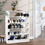 Artiss 30 Pairs 6-Tier Wooden Shoe Rack, White