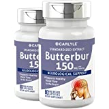 Carlyle Butterbur Extract Standardized 150 mg 120 Capsules – Migraine Headache Formula – Non-GMO, Gluten Free, PA Free