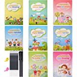 8 Pieces Reusable Kids Practice Copybook Set with Pen, Magic Calligraphy Number Tracing Book for Preschoolers Kids Children C