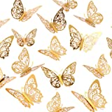 Crosize 72Pcs 3D Gold Butterfly Wall Décor 3 Sizes Butterfly Decorations Butterfly Party Cake Decorations 3D Butterfly Sticke