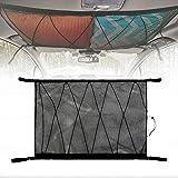 Roccar Large Ceiling Cargo Net Pocket, Car Roof Long Trip Storage Bag with Zipper, Adjustable Automotive Sundries Storage Pou