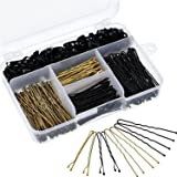 Hicarer 200 Pieces Bobby Pins and U Hair Pins Hair Clips and 100 Pieces Rubber Hair Bands with Storage Box for Girls and Wome