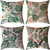 FeelAtHome Throw Pillow Covers Cases 18 x 18 Inches Set of 4 (Tropical Forest)