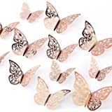AIEX 24pcs 3D Butterfly Wall Stickers 3 Sizes Butterfly Wall Decals Room Wall Decoration for Bedroom Party Wedding Decors(Ros