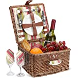 Picnic Basket for 2 Person, Durable Wicker Picnic Hamper Set, Willow Picnic Basket Accessories Plates and Utensils, Perfect W