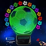 GDOULW 3D LED Night Light Soccer Rechargeable 3D Optical Illusion Lamp for Kid Girl Boy Bedroom Soccer Lamps with Remote Cont