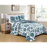 Luxury Home Collection 3 Piece King/California King Quilted Reversible Coverlet Bedspread Set Floral Printed White Navy Blue