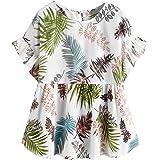 SOLY HUX Women's Tropical Print Ruffle Short Sleeve Peplum Top Blouse