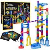 NATIONAL GEOGRAPHIC Glowing Marble Run – 80 Piece Construction Set with 15 Glow in the Dark Glass Marbles, Mesh Storage Bag &