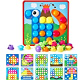 Button Art Toys for Toddlers, Geekper Color Matching Mosaic Pegboard, Early Learning Educational Toys for 3, 4, 5, 6 Year Old