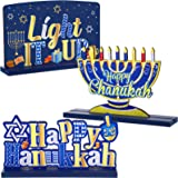 3 Hanukkah Table Decoration Chanukkah Table Centerpiece Wooden Sign Winter Snow Day Happy XMAS for Chanukkah Party Dinner Cof