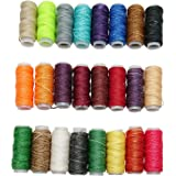 Goiio 24 Colors Waxed Thread, Leather Sewing Thread,Hand Stitching Thread for Hand Sewing Leather and Bookbinding, 13Yards Pe