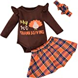 Thanksgiving Day Outfit Baby Girls Thanksgiving Clothes Long Sleeve Ruffle Shirt Top Turkey Suspender Skirt Headband 3PCS