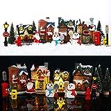 Skylety 16 Pieces Christmas Village Houses Set Decorations LED Lights Christmas Town Scene Desktop Ornaments Christmas Figuri