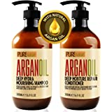 Moroccan Argan Oil Shampoo and Conditioner SLS Sulfate Free Gift Set - Best for Damaged, Dry, Curly or Frizzy Hair - Thickeni