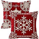 NIDITW Set of 2 Sister Birthday Gift Joy Peace Noel Beautiful Snowflakes Body Red Cotton Burlap Linen Throw Pillow Case Cushi