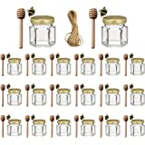 Adabocute 1.5 oz 20 pack Hexagon Mini Glass Honey Jars with Wood Dipper, Gold Lid, Bee Pendants - Perfect for Baby Shower, We