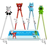 House of Stix Training Chopsticks for Kids Adults and Beginners - 4 Pairs Chopstick Set with Attachable Learning Chopstick He