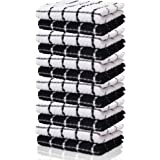 KUULE- tea TOWELS, 100% SOFT NARURAL COTTON, (12 PACK-black towels)- TOkitchen WEL GREAT FOR WHITE KITCHEN DISHCOLOTHS & HOUS