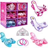 Jeowoqao Girls Dress up Shoes, Princess Role Play Shoes Collection Set, Dress up Princess Shoes with Princess Crown and 3 Pcs