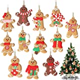 GuassLee 12 Pack Gingerbread Man Ornaments for Christmas Tree Decorations - 3 inch Tall Gingerman Hanging Charms Christmas Tr