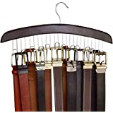 Richards Homewares 75532 Holds 12 Wooden Hangers for Closet Organization and Storage of Mens Belts-Dark Walnut Wood and Chrom