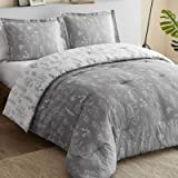 Bedsure Floral Comforter Set King Size Bed Grey & White, Flower and Plant Printed Reversible Comforter Hypoallergenic All Sea