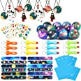 Lorfancy Outer Space Party Favors Supplies Space Toys, Slap Bracelets Tattoo Stickers Bouncy Ball Helicopter Keychains Space
