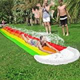 AMENON 14 FT Lawn Water Slides, Rainbow Slip Slide Play Center with Splash Sprinkler and Inflatable Crash Pad for Kids Childr