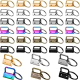 72 Pieces 1 Inch Key Fob Hardware Lanyard Keychain Hardware Keychain Fob Wristlet Hardware with Metal Ring for Keychain and W