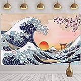 Great Wave Kanagawa Photo Banner Japanese Ukiyo-e Ocean Wave Fuji Mountain Backdrop Wall Hanging Sunset Cherry Blossom Art Na